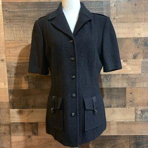 St John Collection Black Knit Short Sleeve Jacket